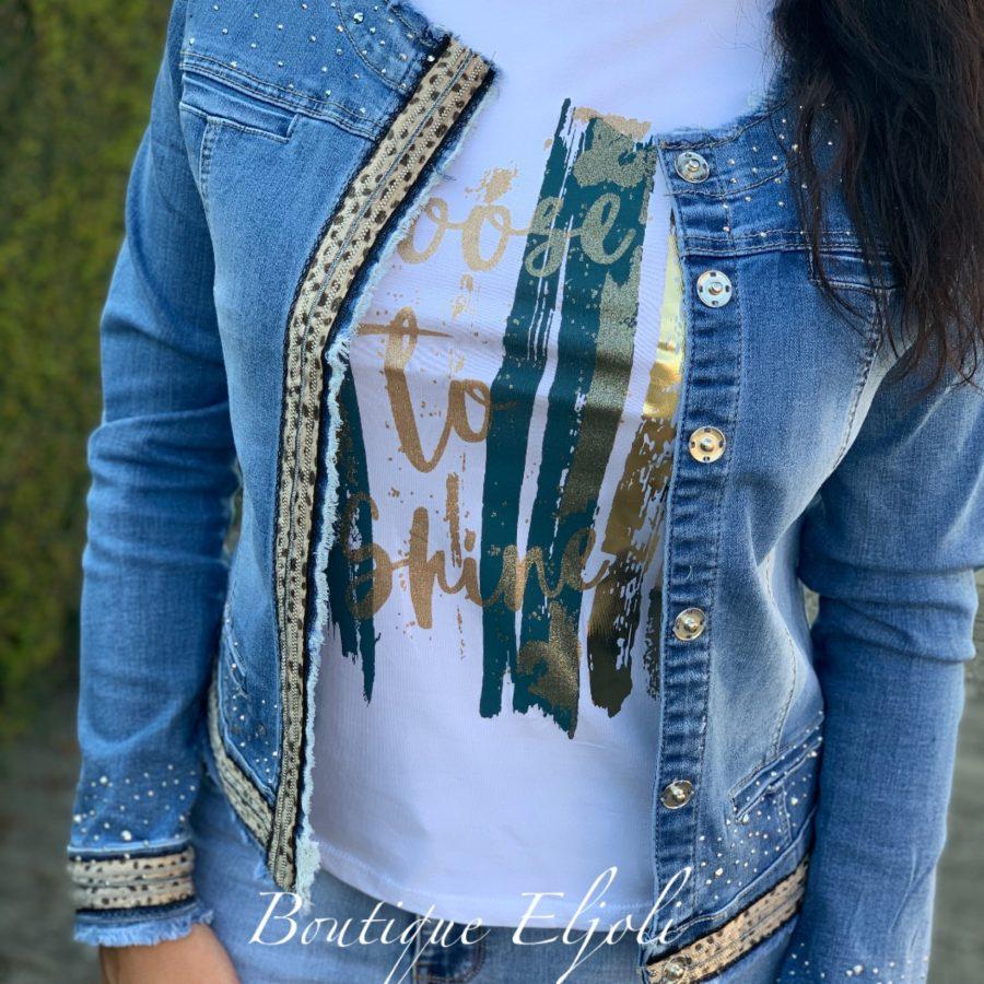 Jeansjas blauw met tijgerprint