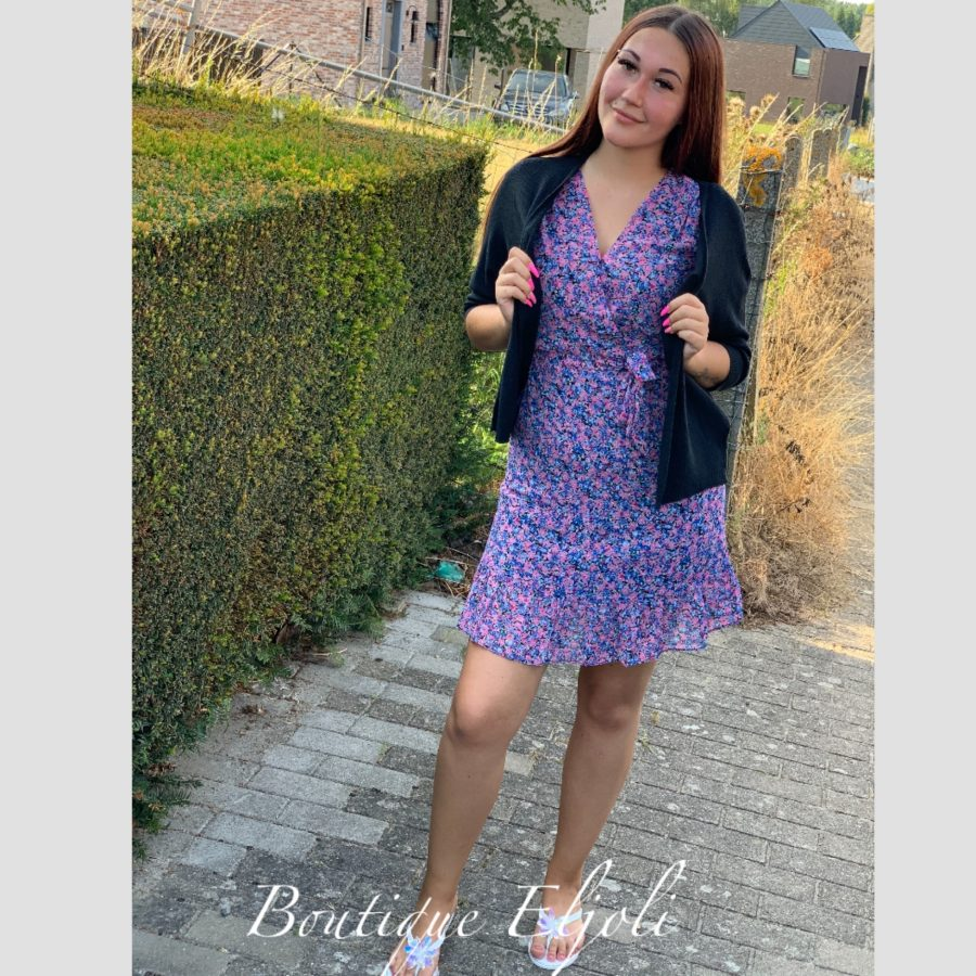Kleedje blauw/paars bloemenprint