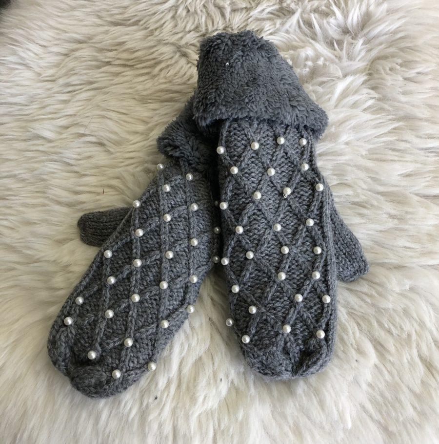 Handschoen grijs met parels