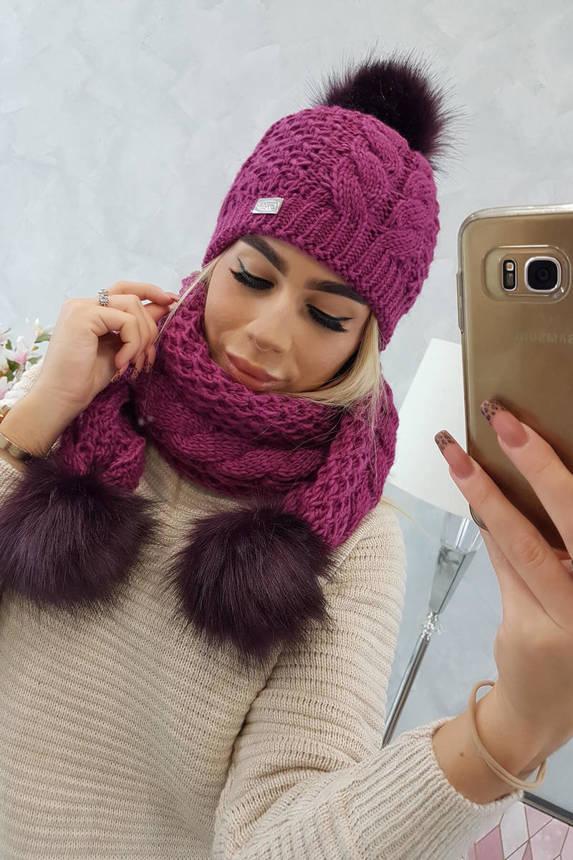 Setje Sjaal + Muts purple bark