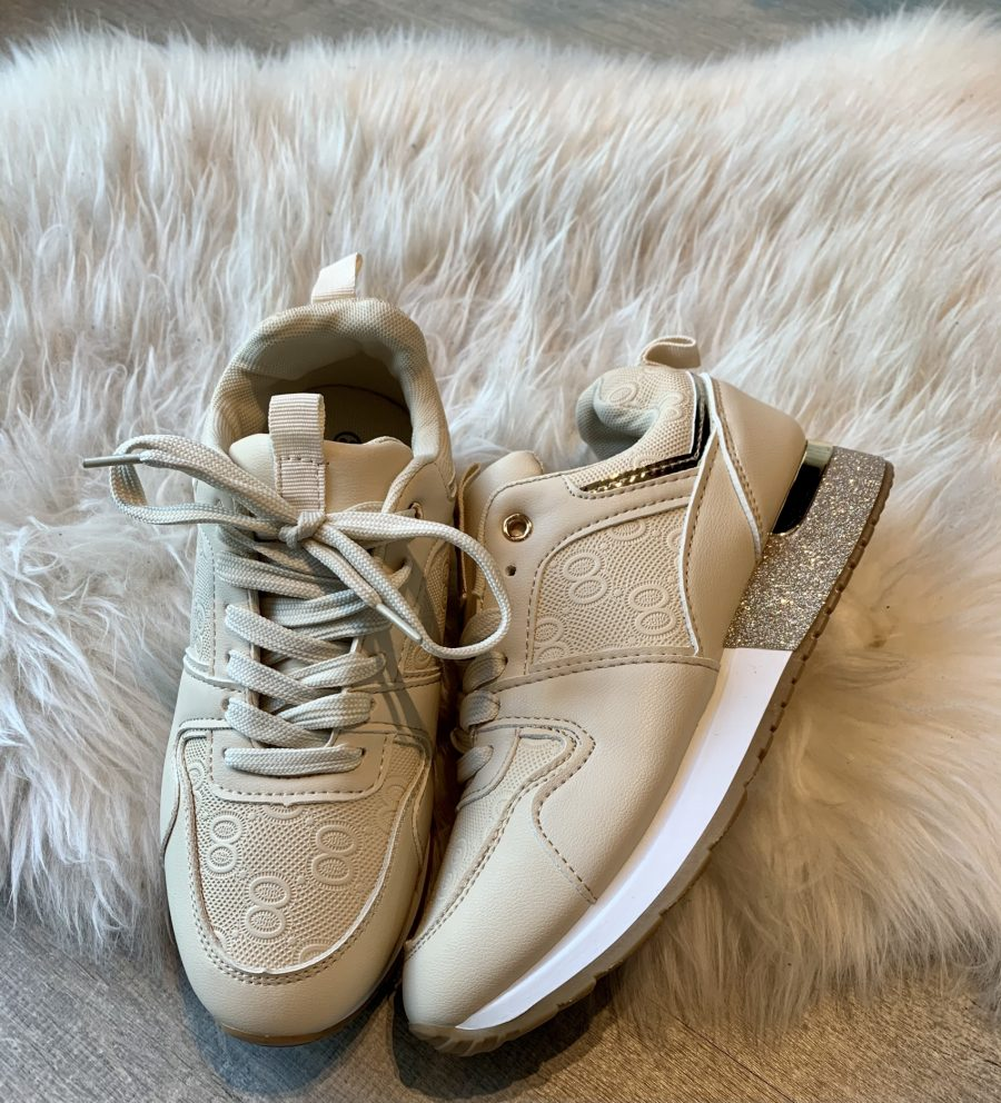 Sneaker beige gouden hiel