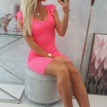 Dress with frills on the sleeve pink neon
