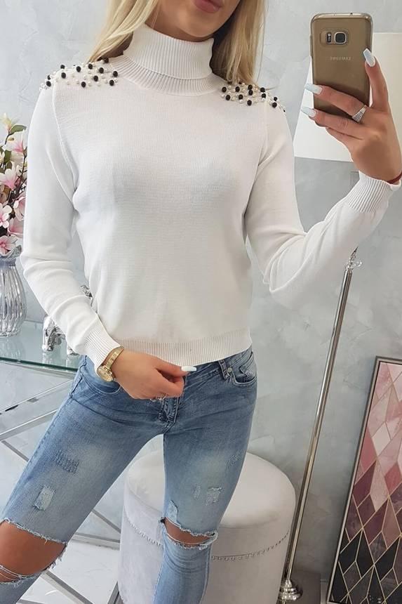 Sweater met parels op schouder wit 1