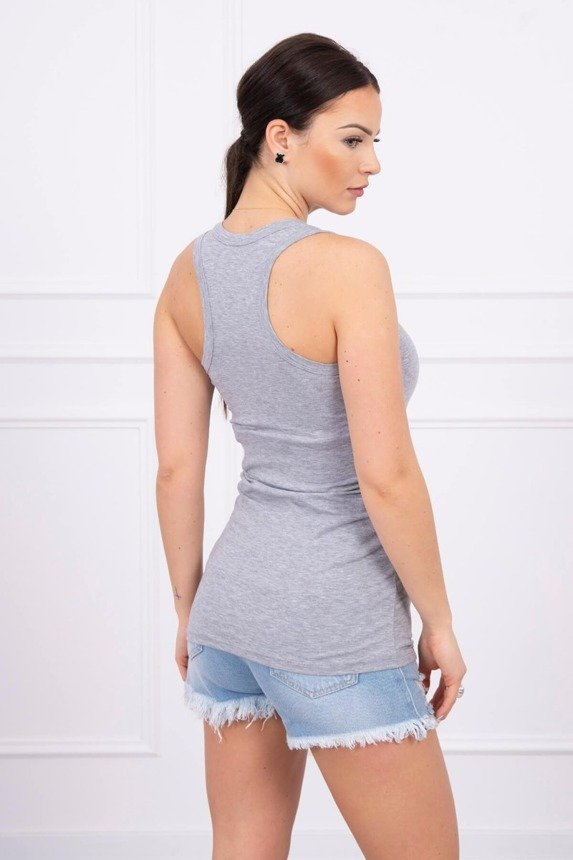 Long strappy top gray