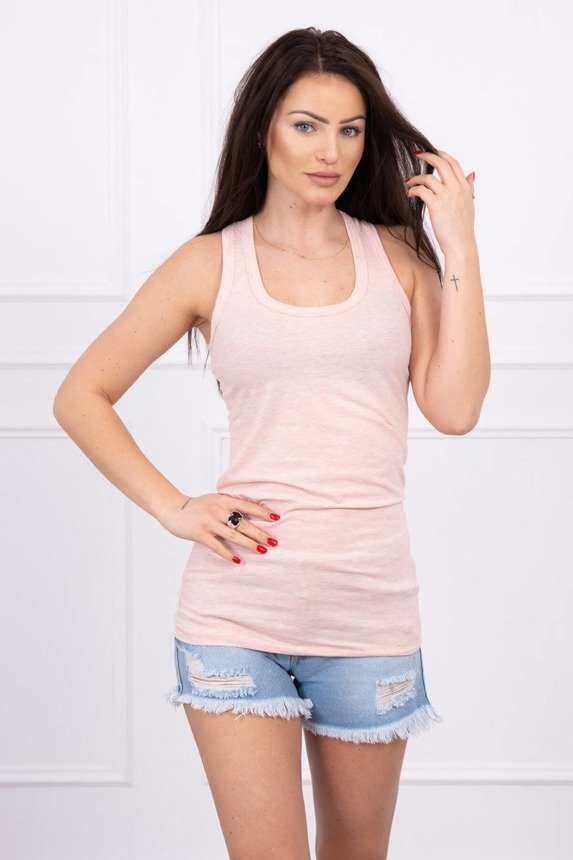 Long strappy top powdered pink melange