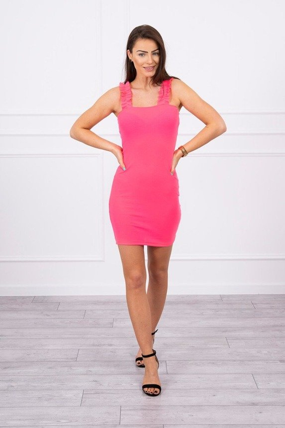 Dress with frills on the straps pink neon