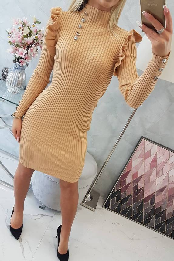 Fitted sweater dress with buttons beige