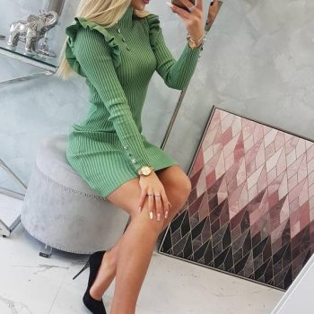Fitted sweater dress with buttons dark mint