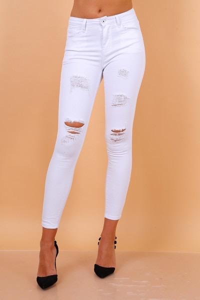 jeans wit met scheuren