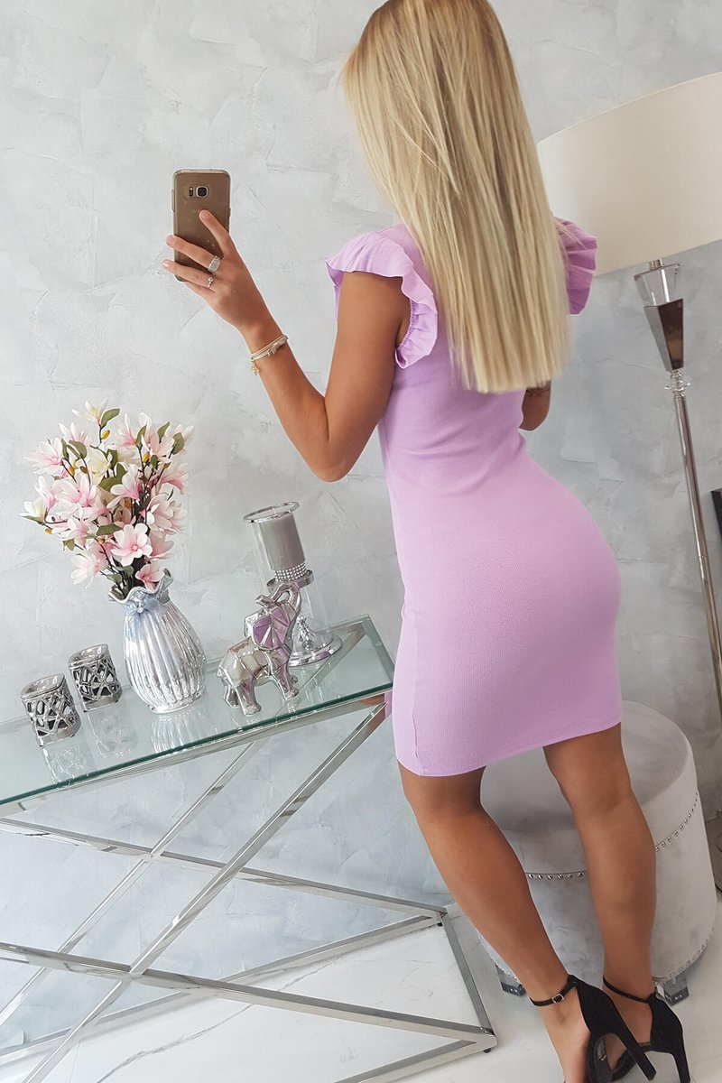 PRE ORDER Dress with frills on the sleeve purple