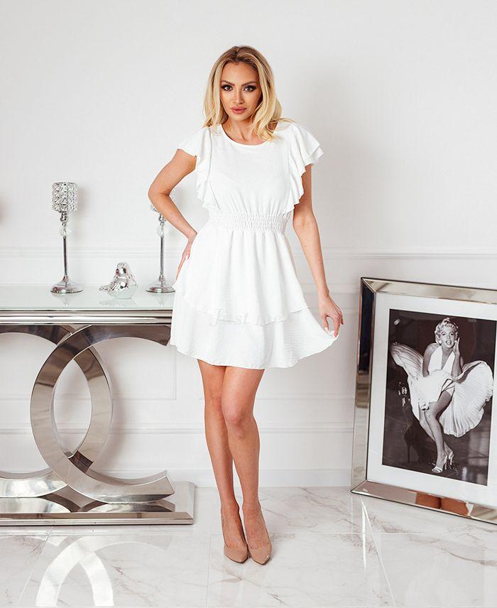 Kort kleedje wit met ruches