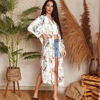 Lange kimono wit