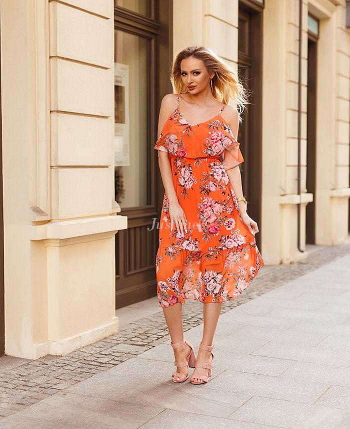 Lange jurk bloem oranje