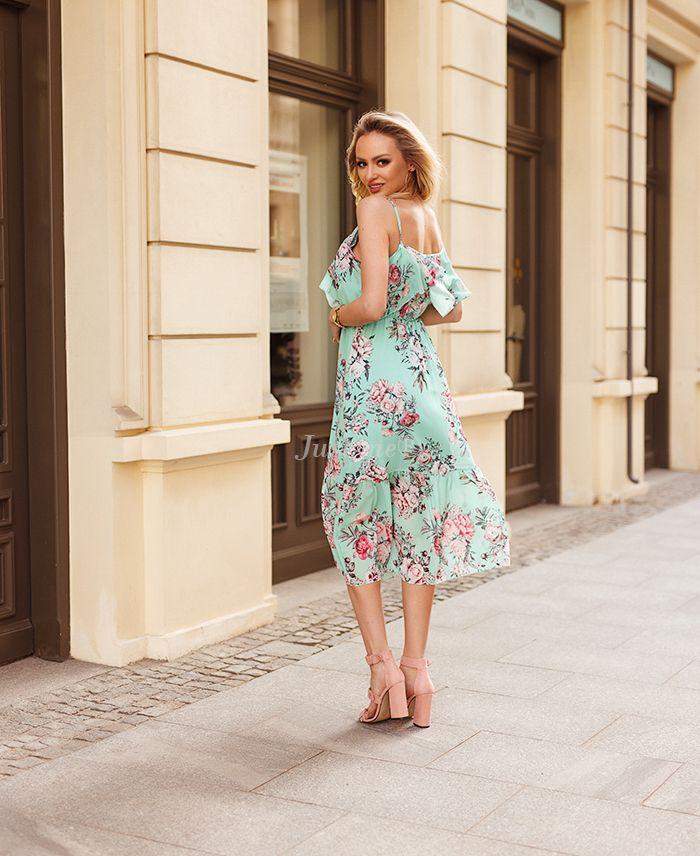 Lange jurk bloem pastel groen