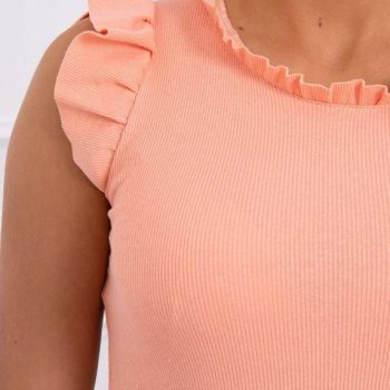 Blouse with frills peach