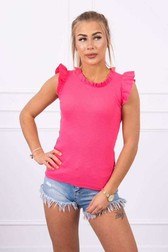 Blouse with frills pink