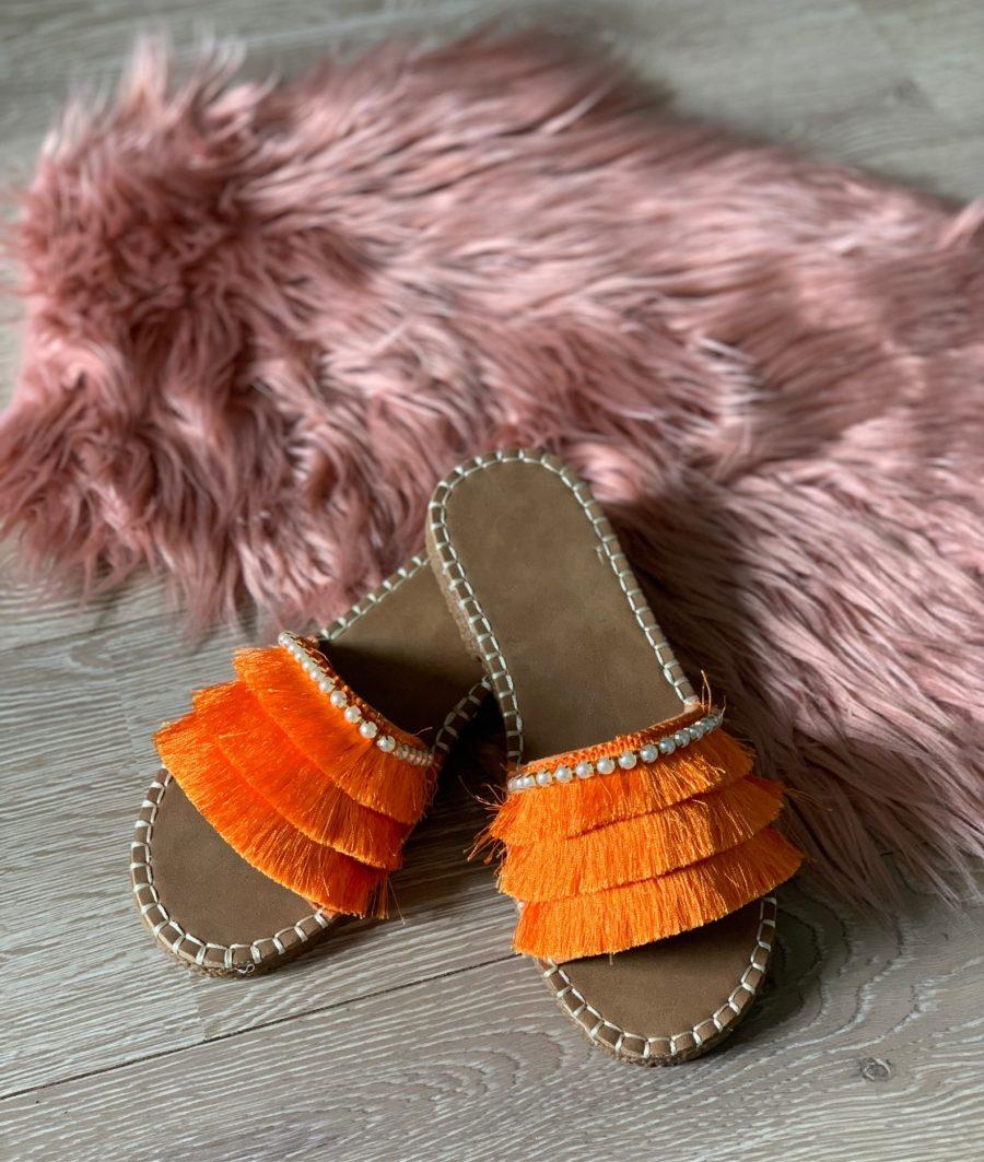 Slippers sliertjes oranje