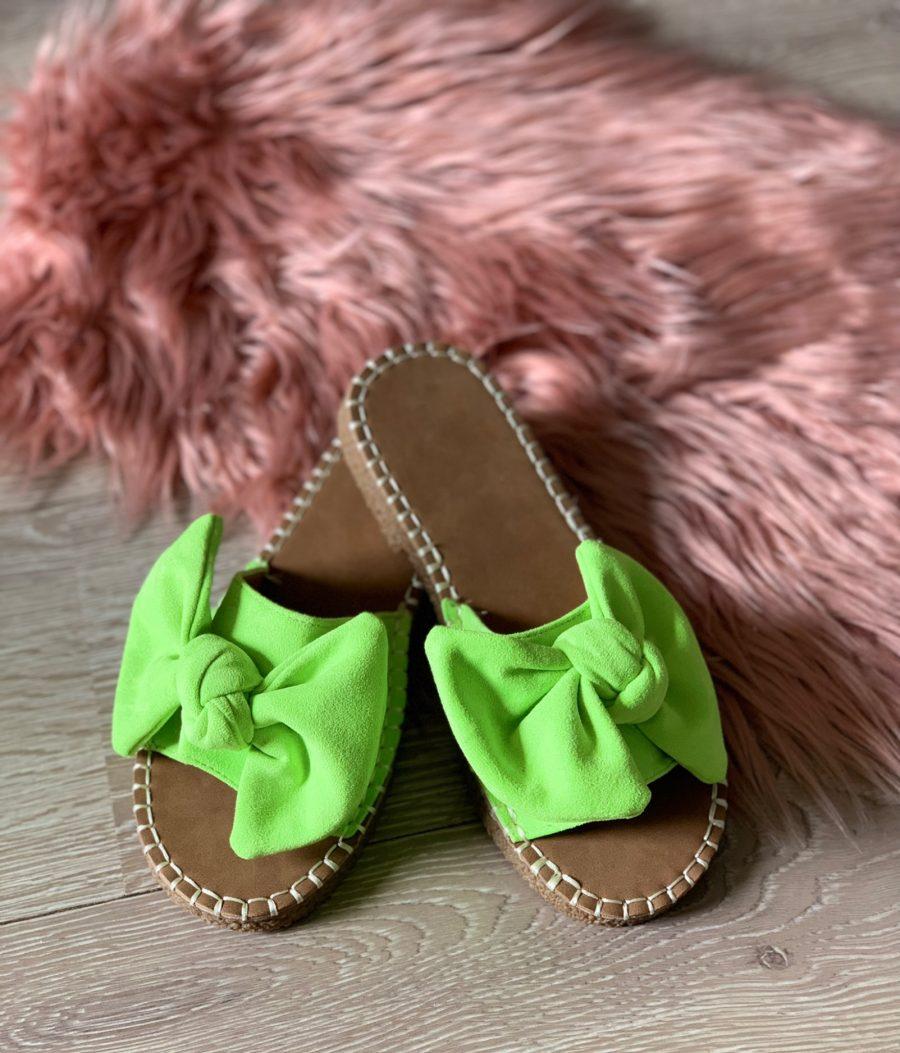 Slippers strik fluo groen