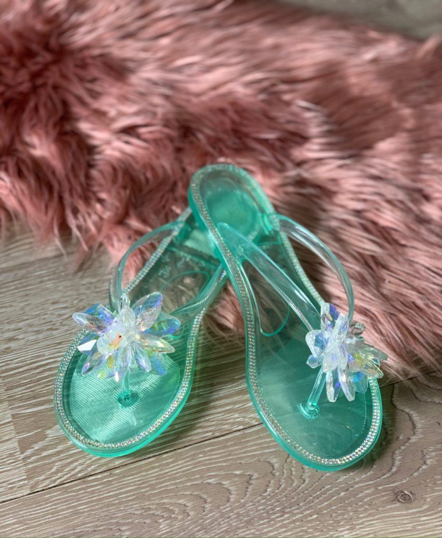 Slippers bloem groen