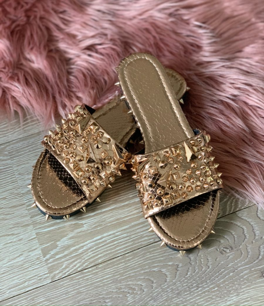 slippers studs champagne