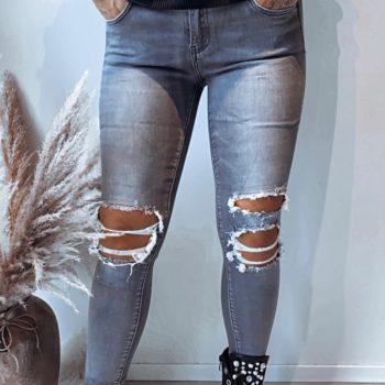 Toxik Jeans grijs met scheuren