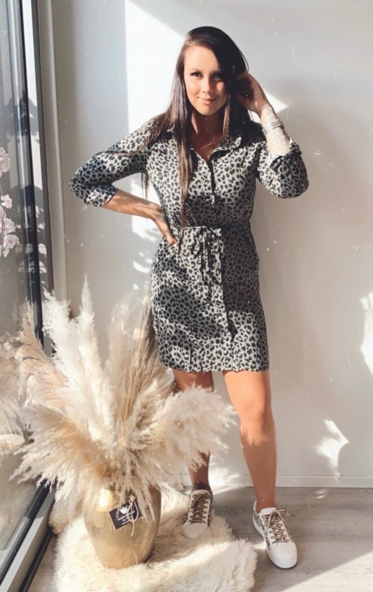 Kort kleedje kaki met tijgerprint