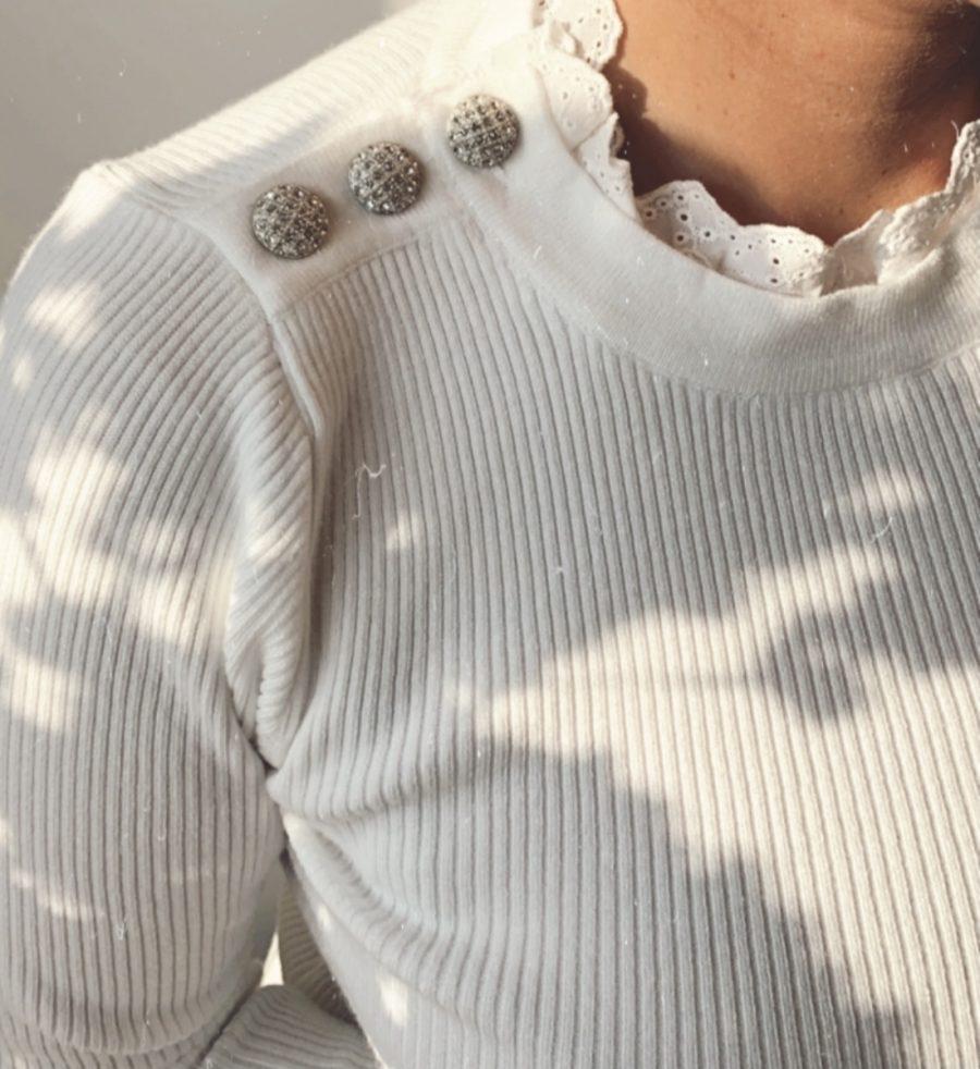 Basis pulletje wit met kant