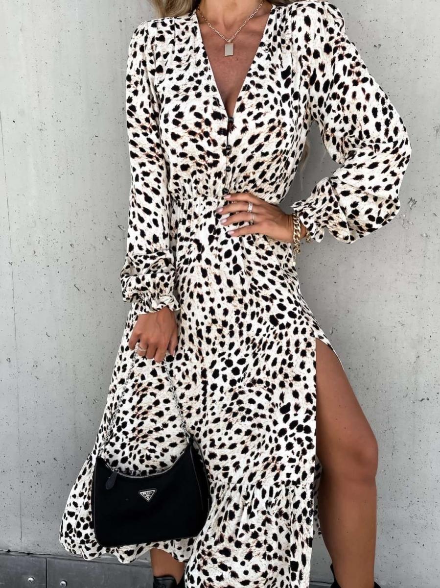Lang kleedje Nora wit/zwart