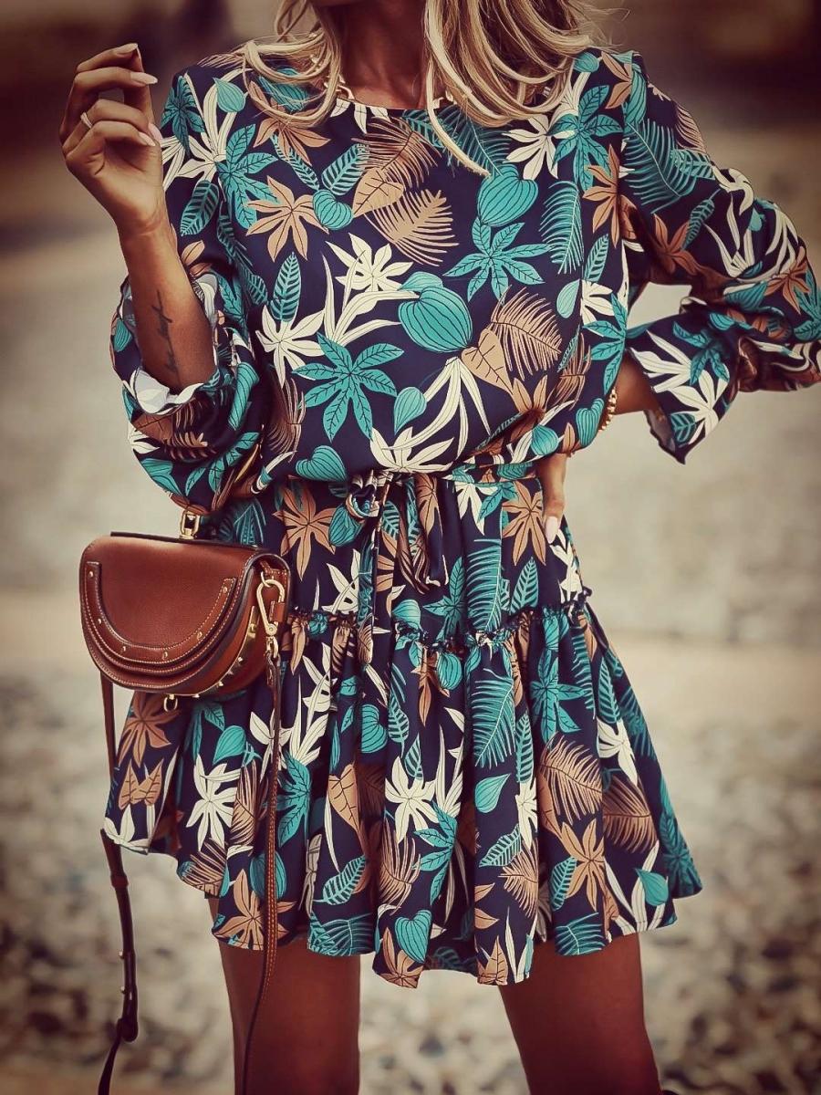 Kort kleedje blauw/roest Els