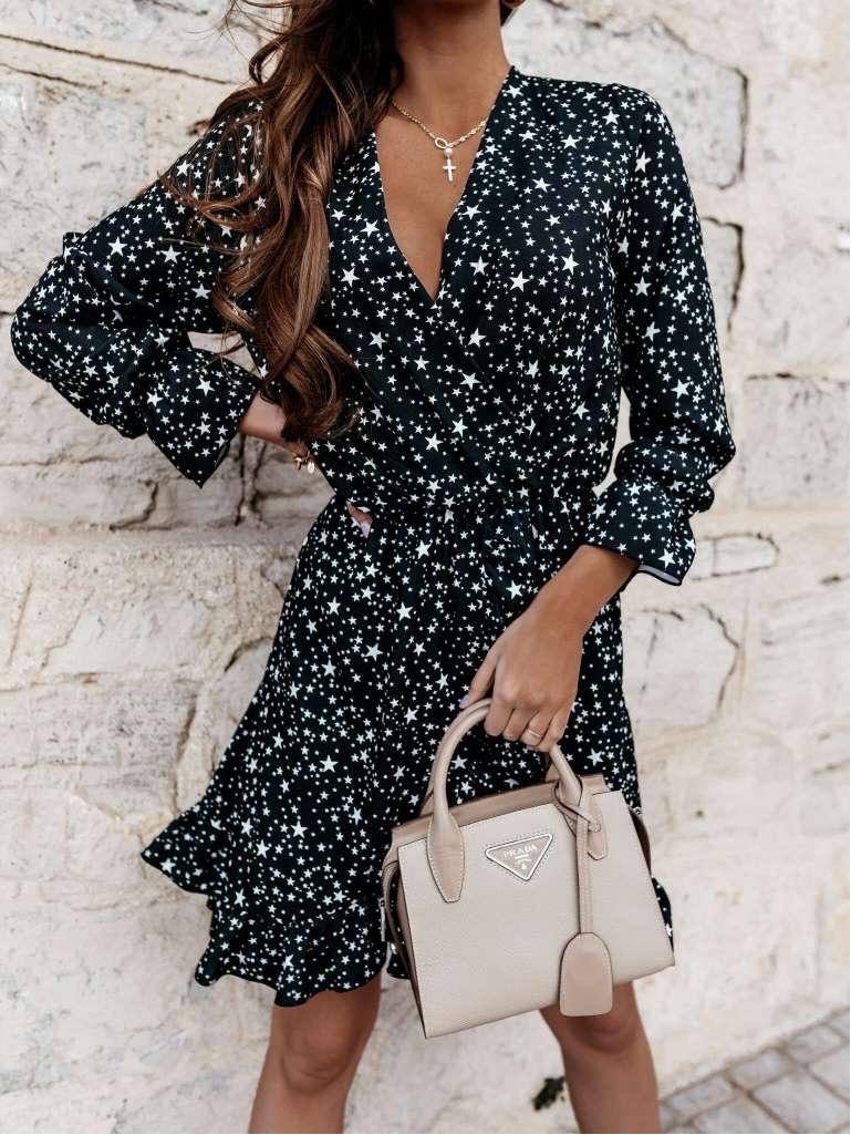Kort kleedje zwart met sterretjes