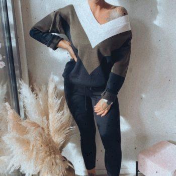 Huispakje zwart/kaki V-model